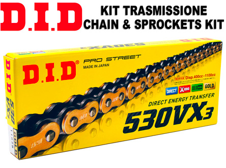Kit Trasmissione DID 530VX3 15/40 Ducati Multistrada 1200, Catena DID 530 VX3 Gold & Black Maglie 108, Corona denti 40, Pignone denti 15