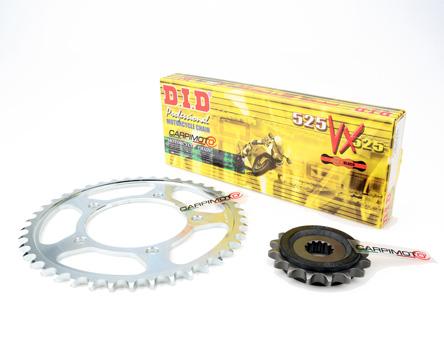 DID 525VX Chain & 16/45T Sprocket Kit Suzuki GSXR 600 06-10, mod +2 Teeth  Rear Sprocket, -1T FS on GSXR 750, DID 525 VX Gold & Black Chain Links 116,