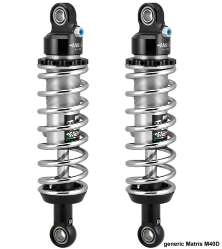 Matris Rear Shock Absorber for Moto Guzzi California 1400 Custom, M40D  Chromed Twin Shocks Version