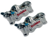 Brembo Set GP4 RX CNC P4 32/32 Radial Calipers 108mm mount, Left + Right Calipers, Nickel finish