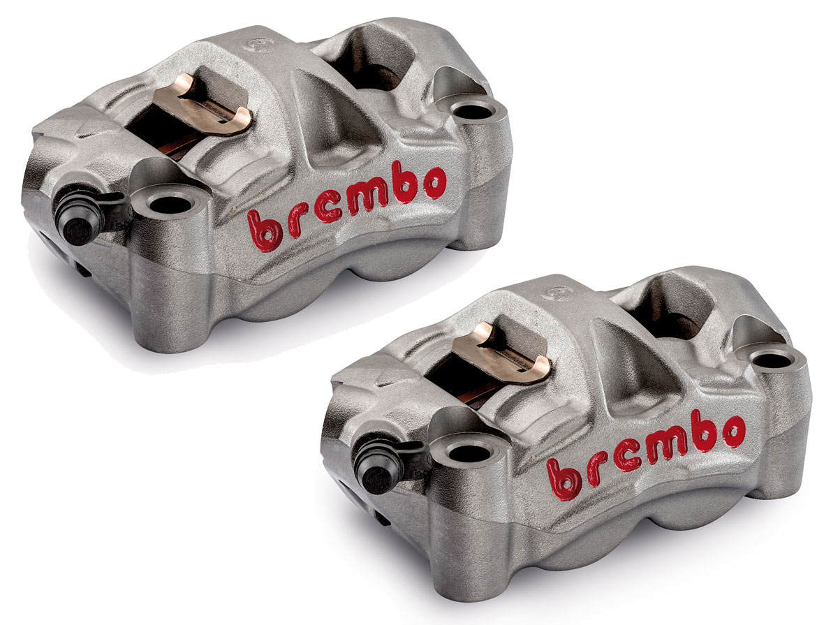 Brembo Set Monobloc M50 Radial Calipers 100mm mount, left + right hand,  color Titanium, with pads (2 pads)