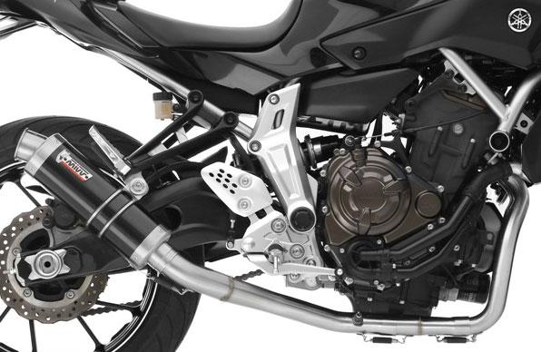 Mivv Complete Exhaust System Yamaha MT-07/FZ-07 High Mount, GP Style  cylindrical Steel Black Muffler, db killer removable silencer