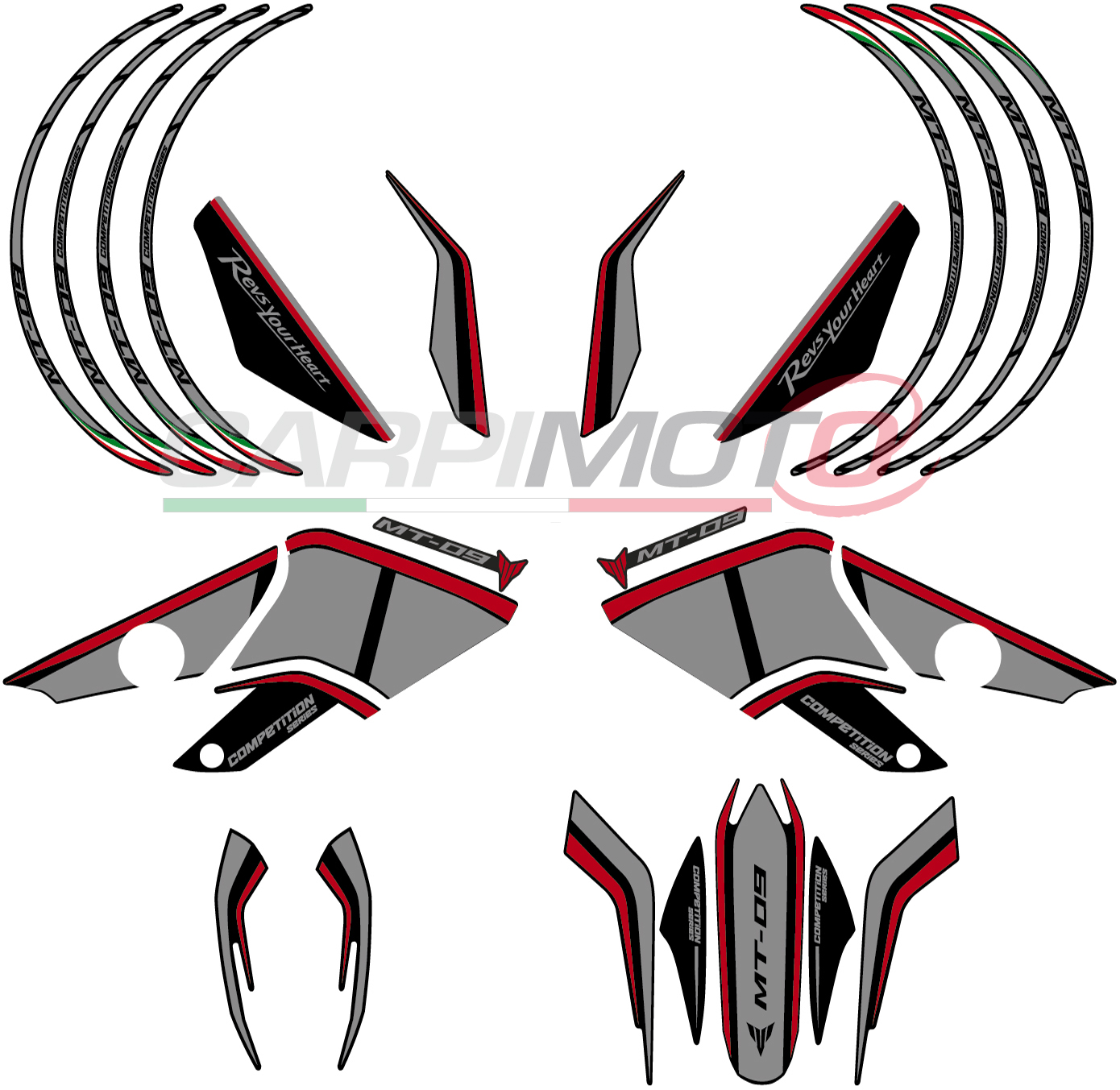 Complete stickers for yamaha mt 09 color grey red glossy finish