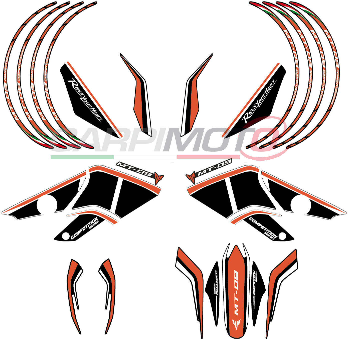 Complete stickers for yamaha mt 09 color black white orange glossy finish