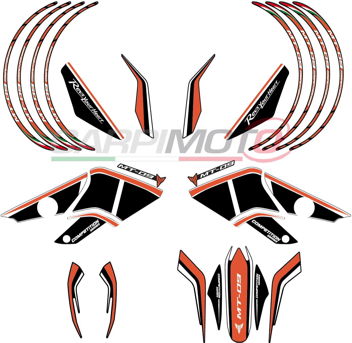 Complete stickers for yamaha mt 09 color black white orange matt finish