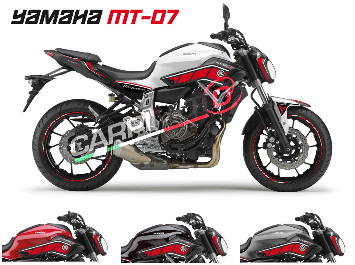 Complete stickers for yamaha mt 07 color red white for Autocollant mural
