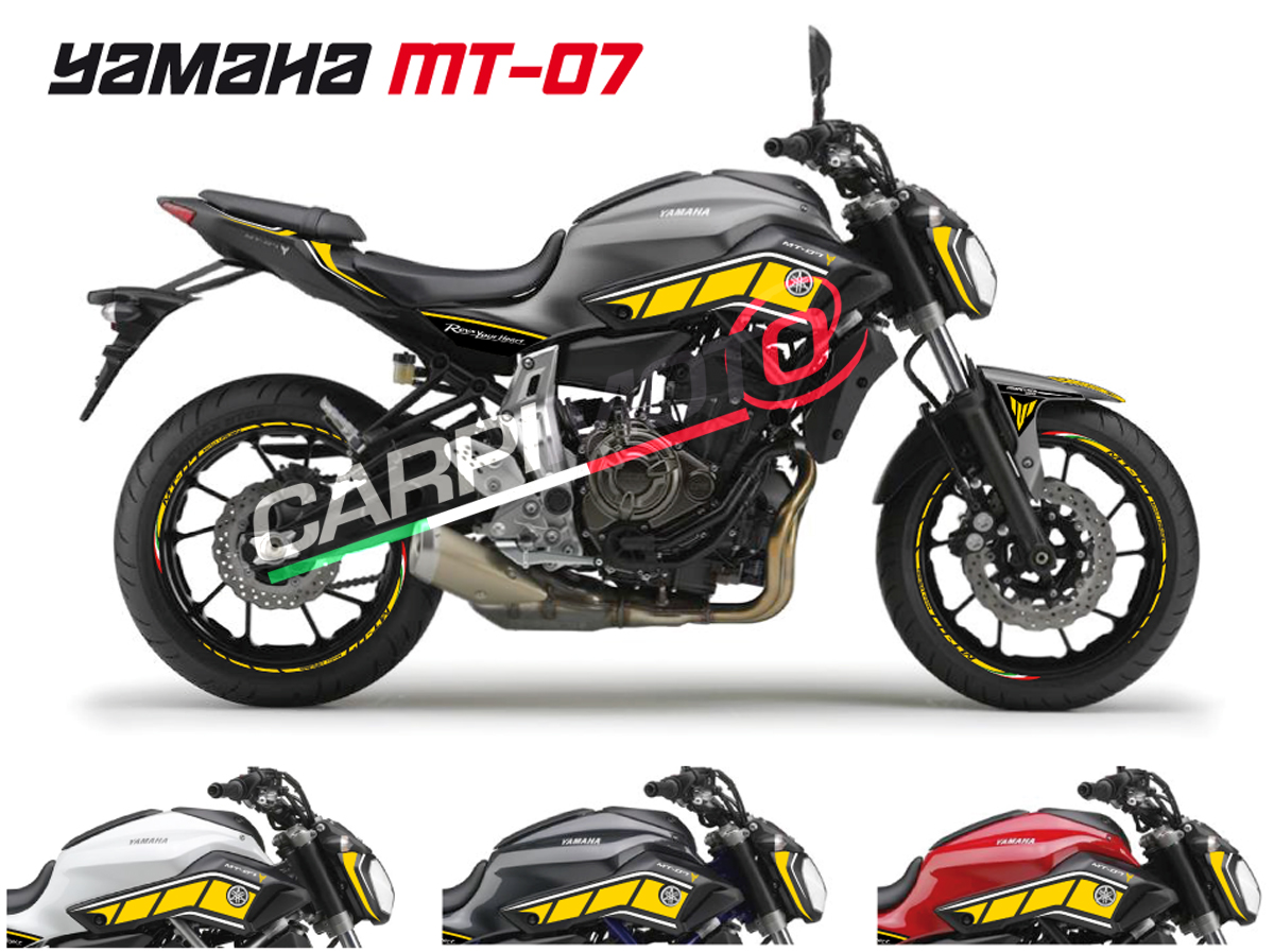 Complete stickers for yamaha mt 07 color yellow white glossy finish